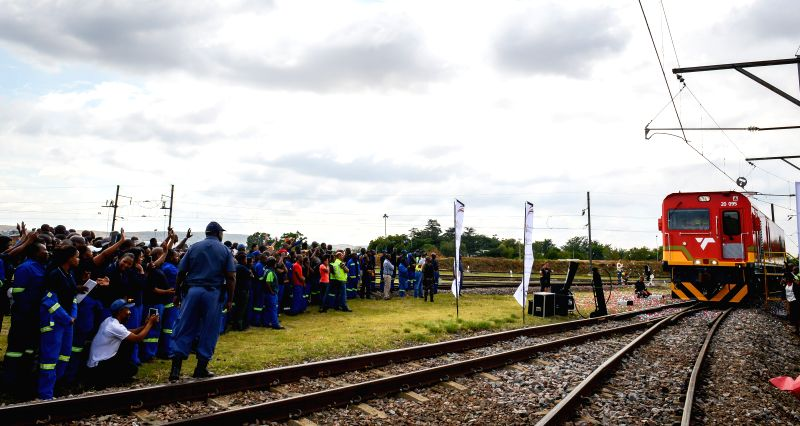 Photo taken on March 19, 2015 shows the ninety-fifth Chinese-made electric locomotive at the Transnet Engineering Koedoespoort Plant in Pretoria, South Africa. ...