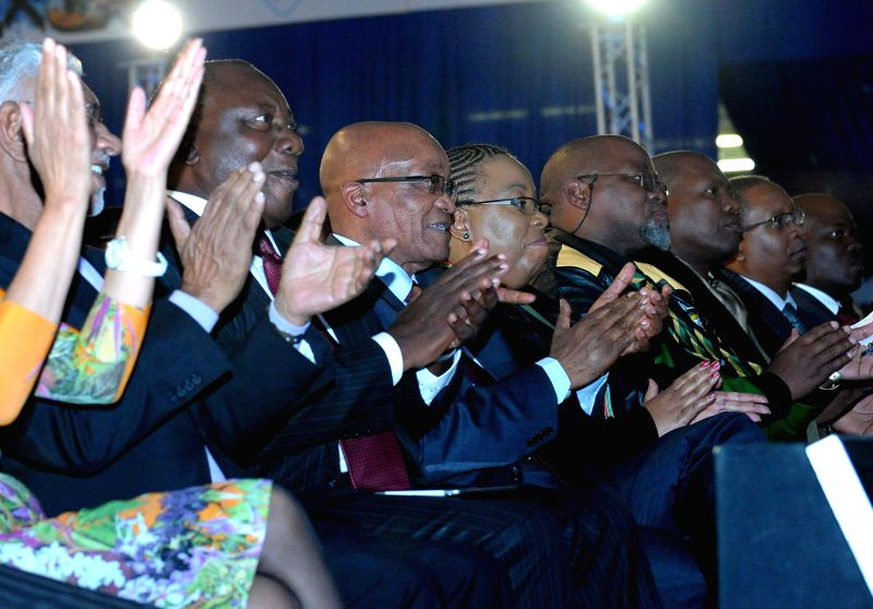 The President of South Africa Jacob Zuma' (2nd L) attends the election result conference of the Independent Electoral Commission (IEC) in Pretoria, South Africa, ...