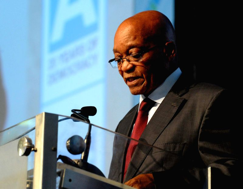 The President of South Africa Jacob Zuma addresses the election result conference of the Independent Electoral Commission (IEC) in Pretoria, South Africa, May 10, ..