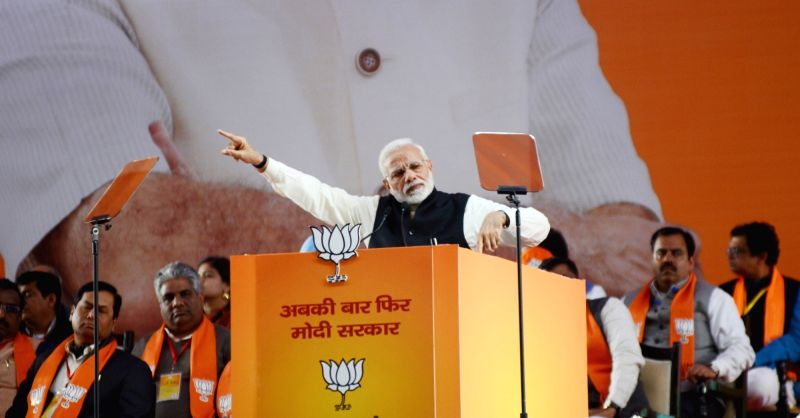 Prime Minister and BJP leader Narendra Modi addresses on the second day of the party's two-day long National Council meeting at Ramlila Maidan in New Delhi, on Jan 12, 2019.