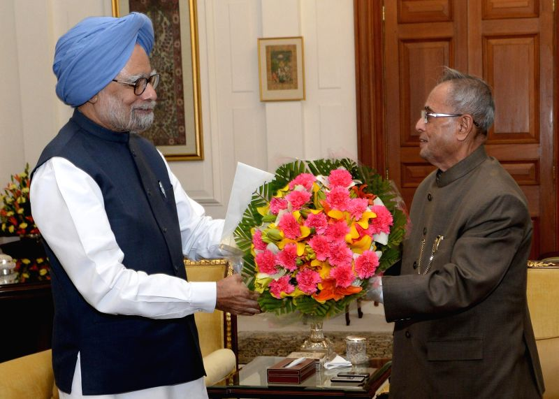 Prime Minister Manmohan Singh during a meeting with President Pranab Mukherjee at Rashtrapati Bhavan in New Delhi on May 17, 2014. Singh submitted his resignation to the President today. - Pranab Mukherjee