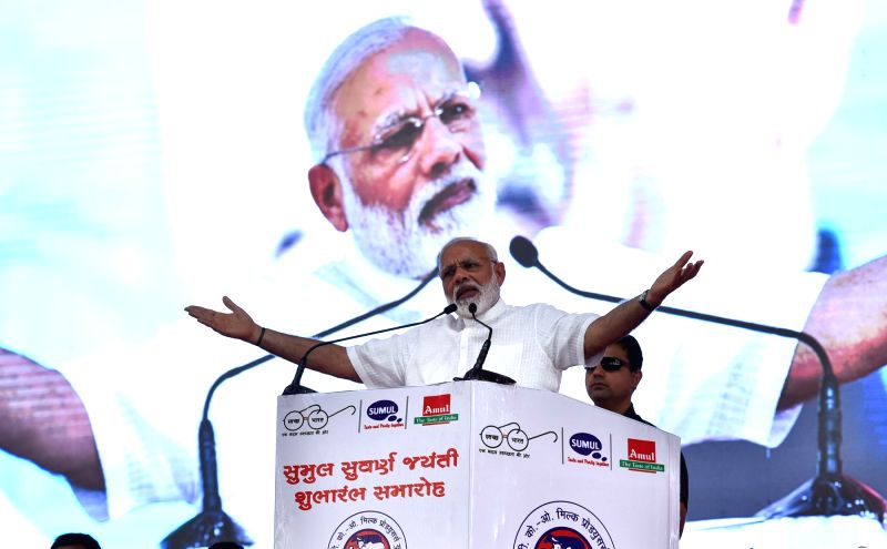 Prime Minister Narendra Modi addresses a public meeting, in Bajipura, Gujarat on April 17, 2017. - Narendra Modi