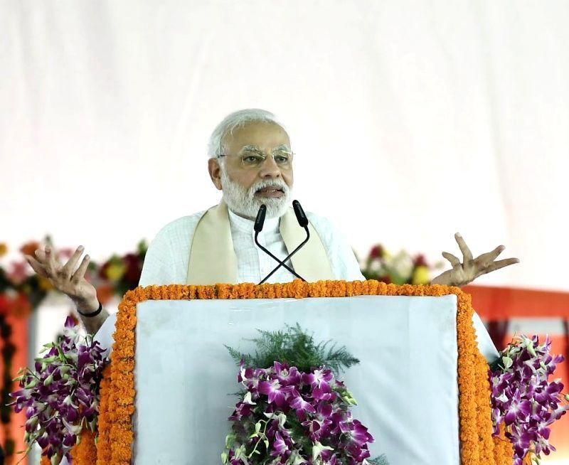 Prime Minister Narendra Modi addresses a public gathering in Uttar Pradesh's Mirzapur on July 15, 2018. - Narendra Modi