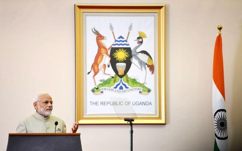 Prime Minister Narendra Modi addresses at press briefing in Kampala, Uganda on July 24, 2018. - Narendra Modi