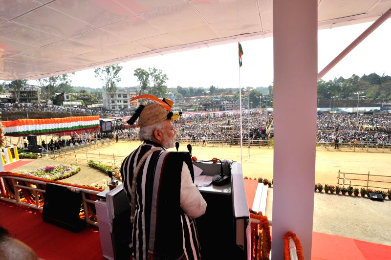 Prime Minister Narendra Modi addresses at the inauguration of the Festival of Arunachal 2015 in Itanagar, Arunachal Pradesh on Feb 20, 2015. - Narendra Modi