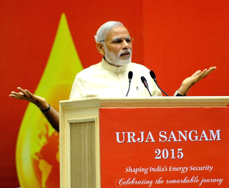 Prime Minister Narendra Modi addresses at the inauguration of the `Urja Sangam`, a summit dedicated to energy, in New Delhi on March 27, 2015. - Narendra Modi