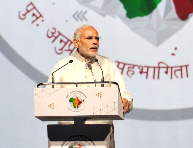 Prime Minister Narendra Modi addresses at the inaugural ceremony of the 3rd India Africa Forum Summit 2015, in New Delhi on Oct 29, 2015. - Narendra Modi
