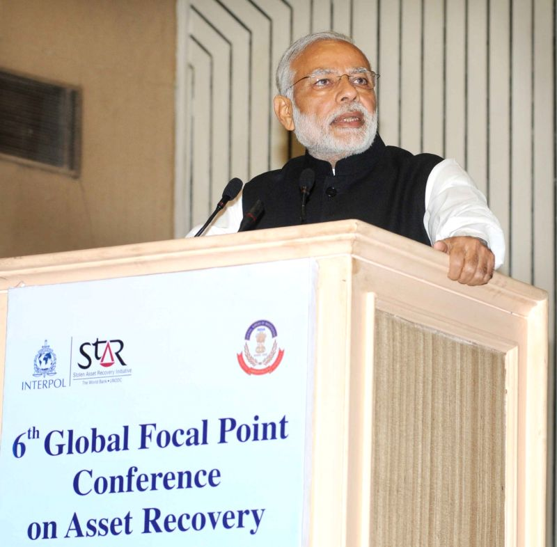 Prime Minister Narendra Modi addresses at the Sixth Global Focal Point Conference on Asset Recovery, in New Delhi on Nov 18, 2015. - Narendra Modi