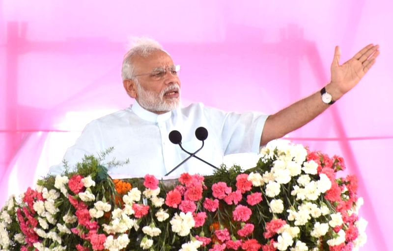 Prime Minister Narendra Modi addresses at the launch of Mission Bhagiratha in Medak district of Telangana on August 7, 2016. - Narendra Modi