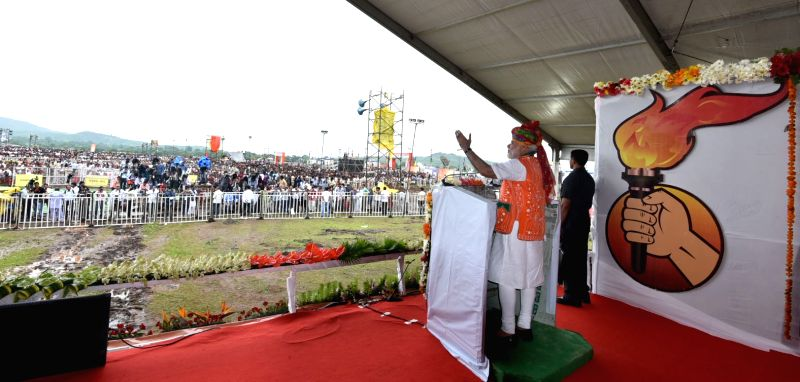 Prime Minister Narendra Modi addresses at the public meeting to mark the launch of 70th Freedom Year Celebrations, in Bhabra village, Alirajpur district, Madhya Pradesh on Aug 9, 2016. - Narendra Modi