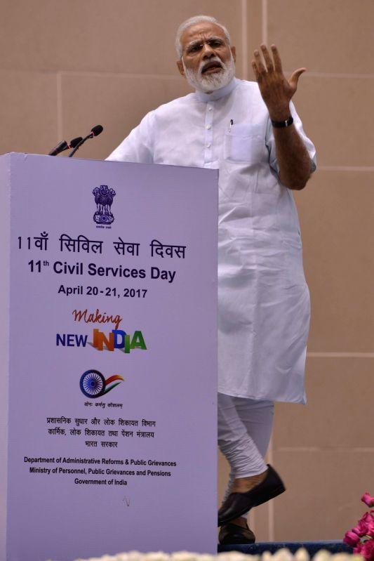 Prime Minister Narendra Modi addresses at the 11th Civil Services Day programme at Vigyan Bhawan, in New Delhi on April 21, 2017. - Narendra Modi