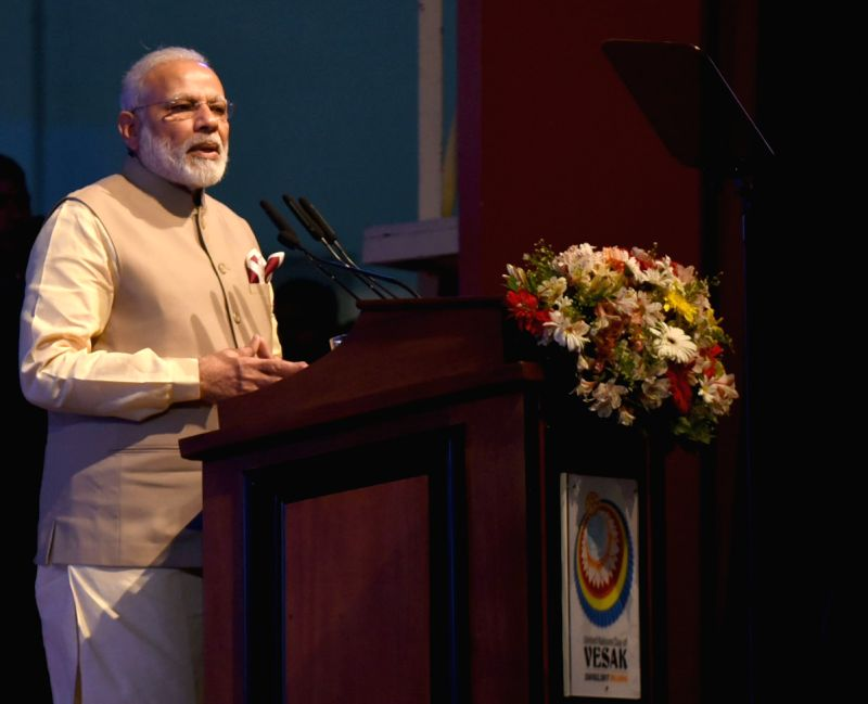 Prime Minister Narendra Modi addresses at the inaugural session of the 14th International Vesak Day celebrations in Colombo, Sri Lanka on May 12, 2017. - Narendra Modi