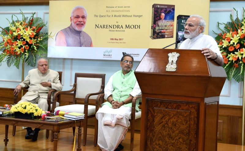 "Prime Minister Narendra Modi addresses at the release of a second part book series on Dr. MS Swaminathan, titled - ""M.S. Swaminathan - The Quest for a world without hunger"" in ... - Narendra Modi"