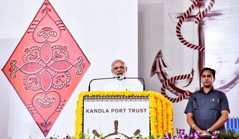 Prime Minister Narendra Modi addresses at the foundation stone laying ceremony of various developmental projects of Kandla Port, in Gandhidham, Gujarat on May 22, 2017. - Narendra Modi