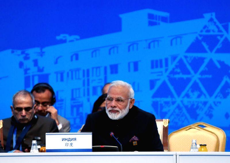 Prime Minister Narendra Modi addresses at the Shanghai Cooperation Organisation (SCO) Summit in Astana, Kazakhstan on June 9, 2017. - Narendra Modi