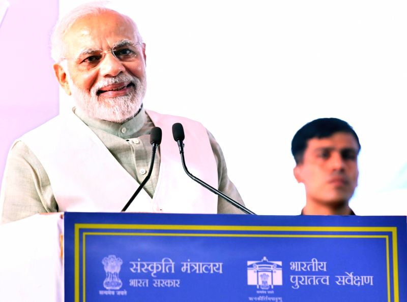 Prime Minister Narendra Modi addresses at the inauguration of 'Dharohar Bhawan' - the new building of Archaeological Survey of India, in New Delhi on July 12, 2018. - Narendra Modi