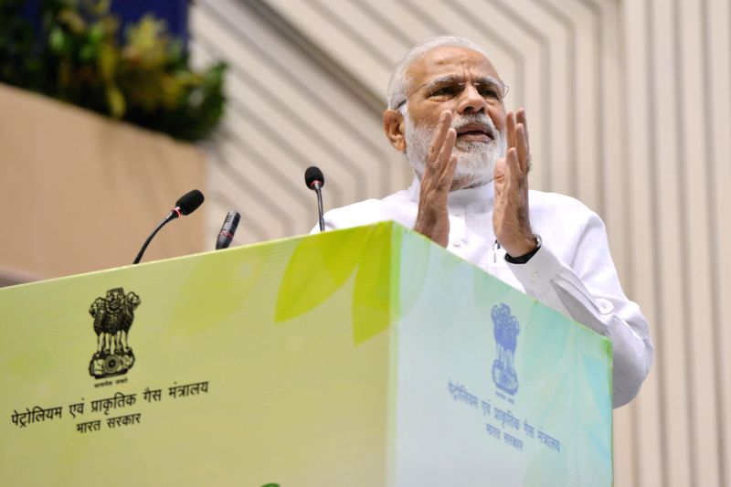 "Prime Minister Narendra Modi addresses at the inauguration of the ""World Biofuel Day 2018"" programme, in New Delhi, on Aug 10, 2018. - Narendra Modi"