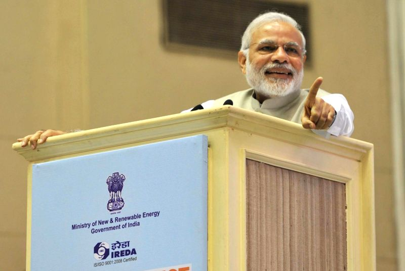 Prime Minister Narendra Modi addresses at the `Re-Invest 2015: India is graduating from Megawatts to Gigawatts in Renewable Energy production`, in New Delhi on February 15, 2015. - Narendra Modi