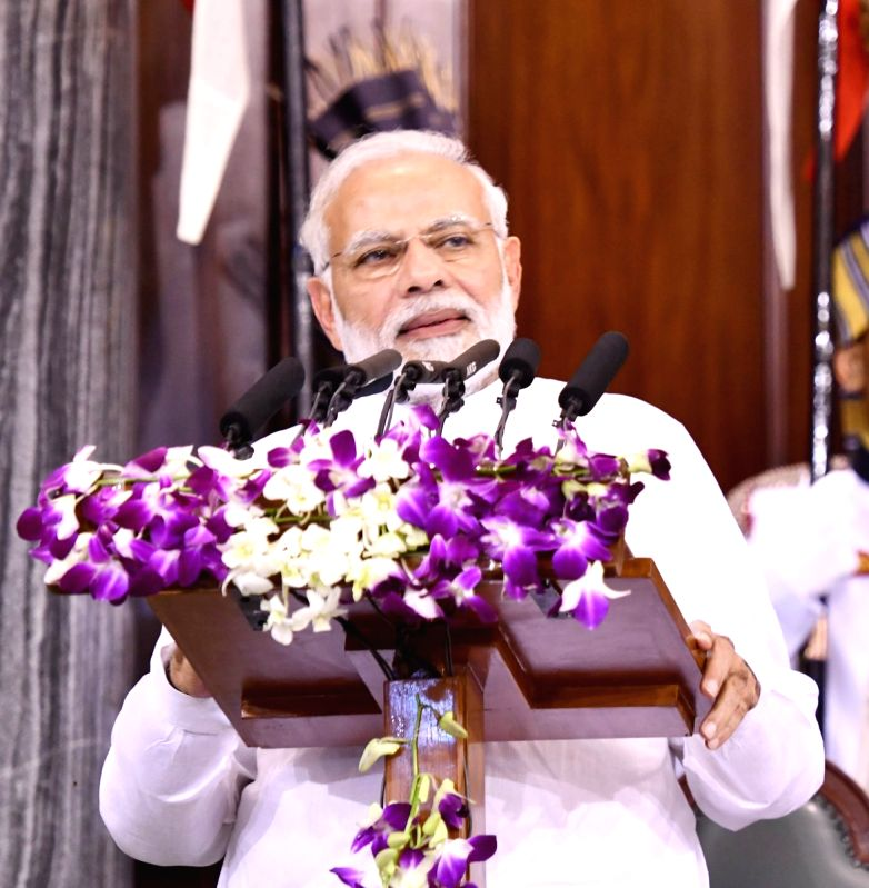 Prime Minister Narendra Modi addresses during Outstanding Parliamentarian Award ceremony at Central Hall of Parliament in New Delhi on Aug 1, 2018. - Narendra Modi