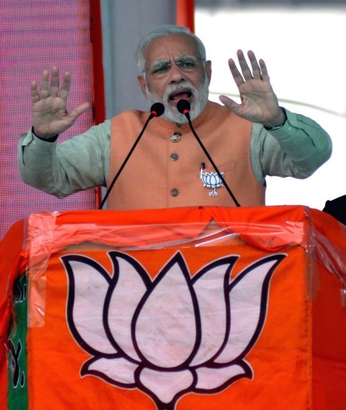 Modi during a BJP rally - Narendra Modi