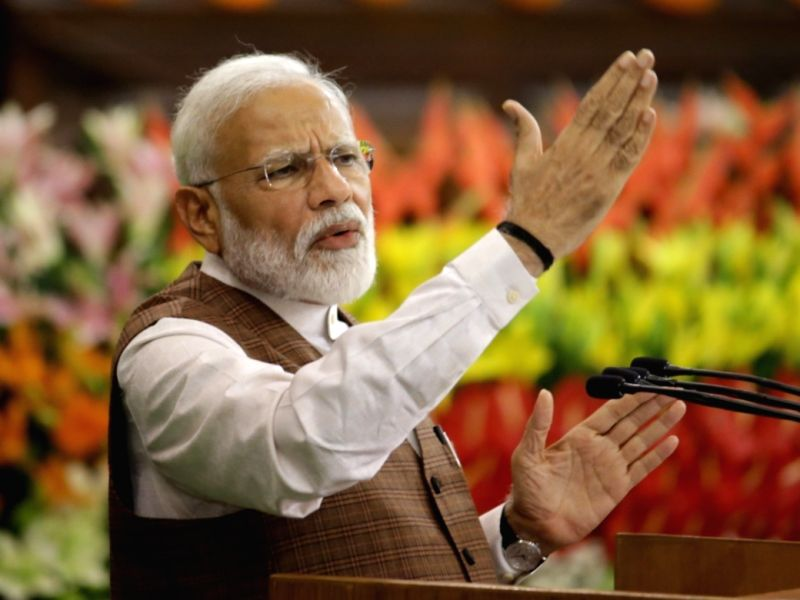 Prime Minister Narendra Modi addresses during NDA Parliamentary Board meeting at the Central Hall of Parliament, in New Delhi on May 25, 2019. (Photo: Amlan Paliwal/IANS)