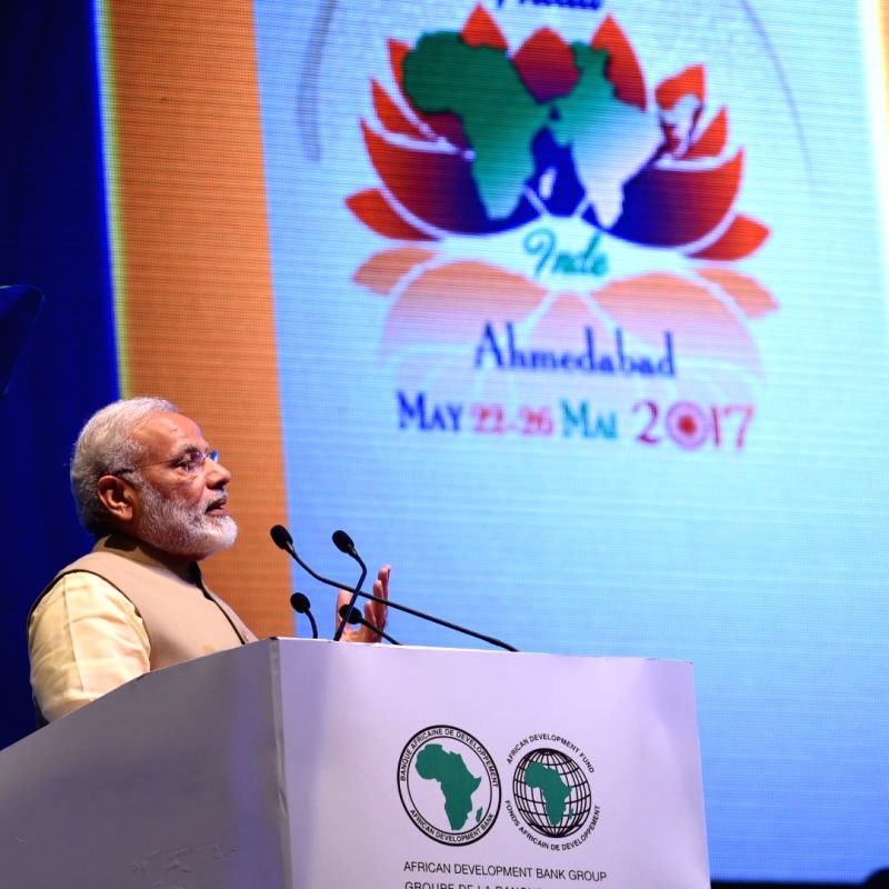 Prime Minister Narendra Modi addresses during the opening ceremony of the 52nd African Development Bank Annual meetings, in Gandhinagar, Gujarat on May 23, 2017. - Narendra Modi