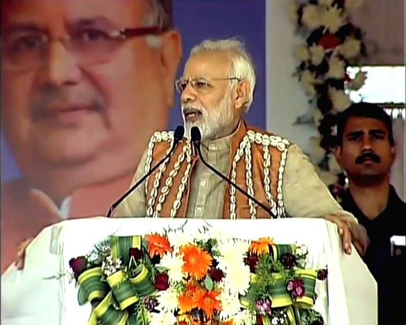 Prime Minister Narendra Modi addresses during the inauguration of the first Health and Wellness Centre to mark the launch of Ayushman Bharat Yojana, in Chattisgarh's Bijapur on April 14, ... - Narendra Modi