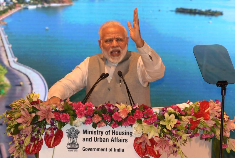"Prime Minister Narendra Modi addresses during the event ""Transforming Urban Landscape: Third Anniversary of Pradhan Mantri Awas Yojana (Urban), Atal Mission for Rejuvenation of Urban ... - Narendra Modi"
