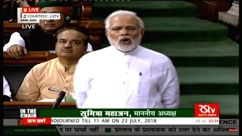 Prime Minister Narendra Modi addresses in Lok Sabha in New Delhi on July 20, 2018.
