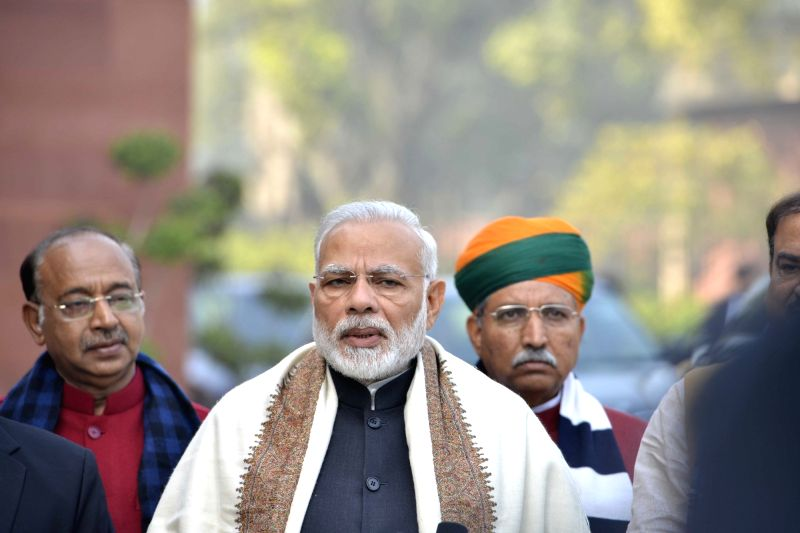 Prime Minister Narendra Modi addresses press ahead of the Budget Session of Parliament in New Delhi, on Jan 29, 2018. Also seen Union Parliamentary Affairs Ananth Kumar, Union MoS Prime ... - Narendra Modi and Jitendra Singh