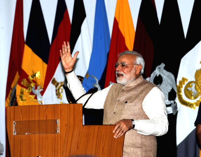 Prime Minister Narendra Modi addresses the officers, soldiers and air warriors of the Indian Armed Forces at Leh on August 12, 2014. - Narendra Modi