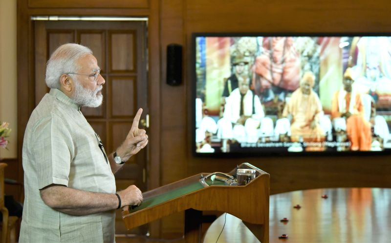 Prime Minister Narendra Modi addresses the Centenary Celebrations of Bharat Sevashram Sangha through video conferencing in New Delhi on May 7, 2017. - Narendra Modi