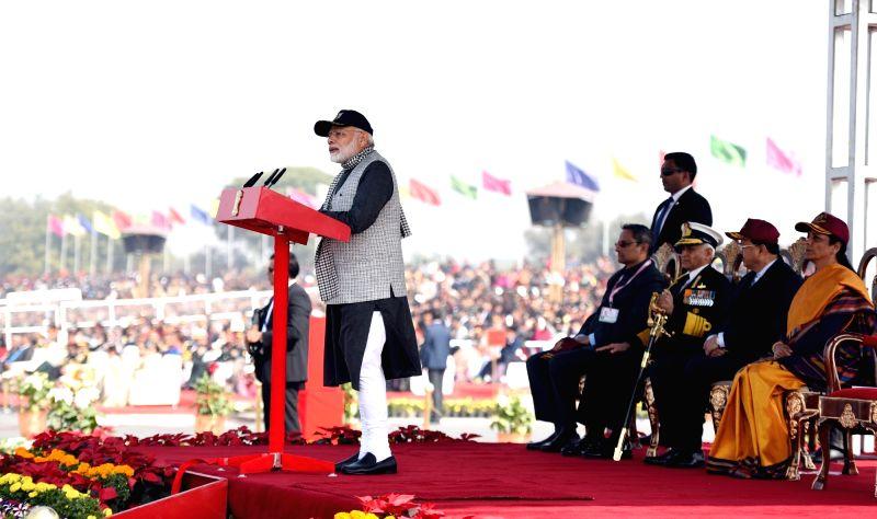 Prime Minister Narendra Modi addresses the NCC Cadets in New Delhi on Jan 28, 2018. - Narendra Modi