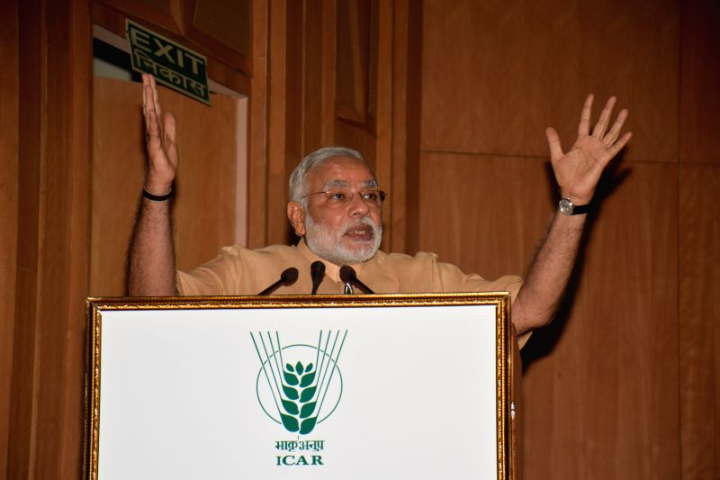 Prime Minister Narendra Modi addressing at the 86th ICAR Foundation Day in New Delhi on July 29, 2014.