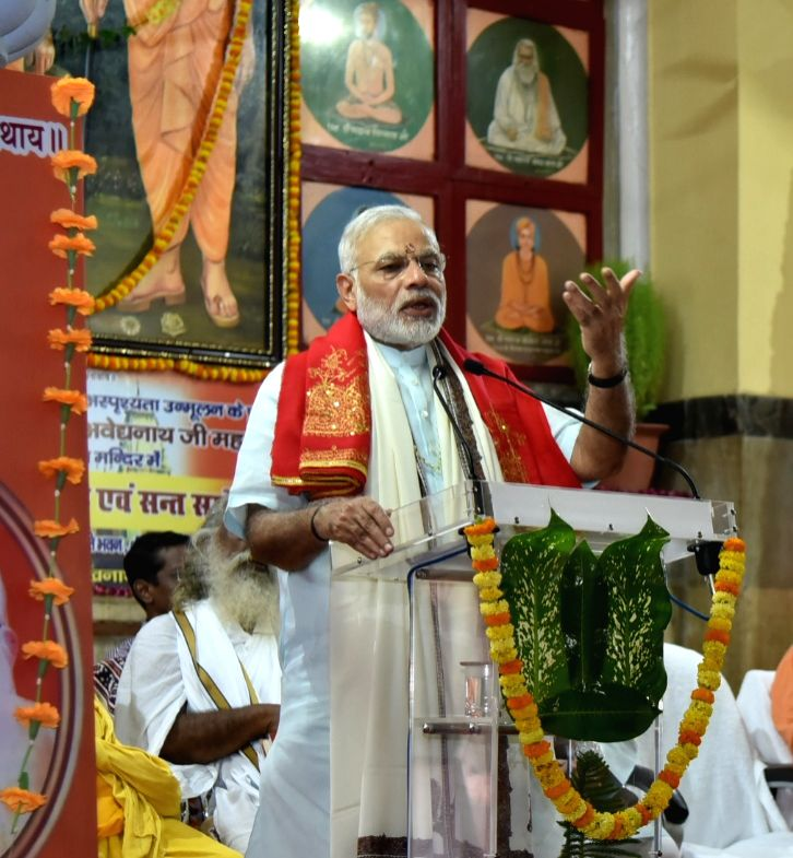 Prime Minister Narendra Modi addressing the gathering, at Gorakhnath Mandir, in Gorakhpur, Uttar Pradesh on July 22, 2016. - Narendra Modi