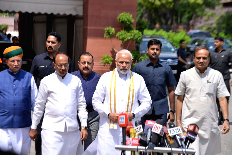 Prime Minister Narendra Modi addressing the media ahead of the Monsoon Session of Parliament, in New Delhi on July 18, 2018. Union Ministers Ananth Kumar, Dr. Jitendra Singh, Vijay Goel ... - Narendra Modi, Ministers Ananth Kumar and Jitendra Singh