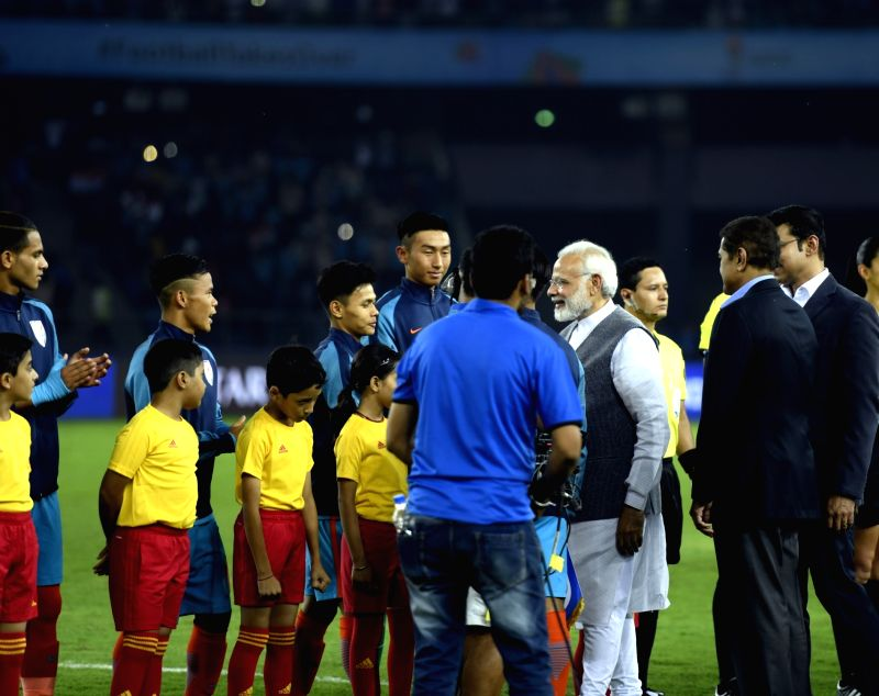 Prime Minister Narendra Modi ahead of the FIFA U-17 World Cup 2017 Group A match between India and USA at Jawaharlal Nehru Stadium in New Delhi, on Oct 6, 2017. - Narendra Modi