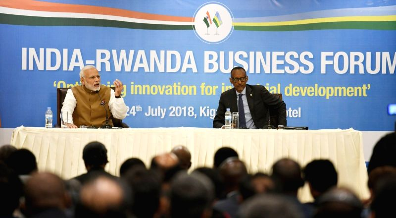 Prime Minister Narendra Modi along with Rwanda President Paul Kagame, addresses at the India-Rwanda Business Forum, in Rwanda's Kigali on July 24, 2018.