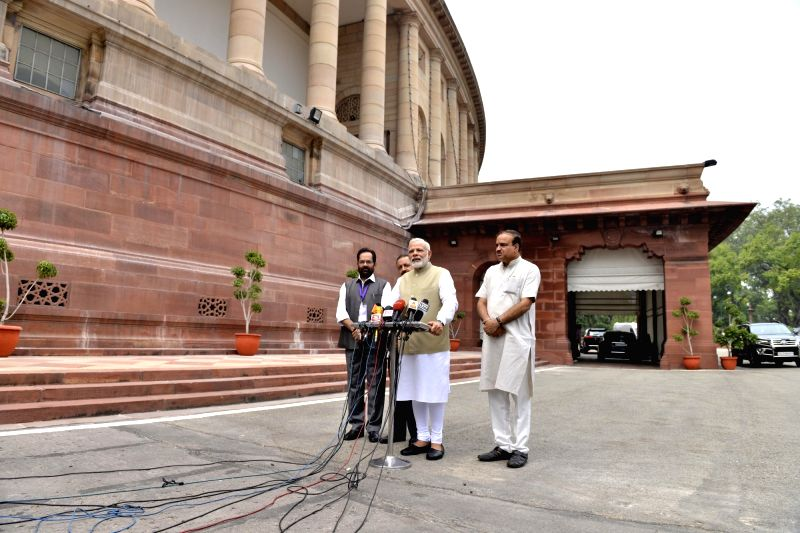 Prime Minister Narendra Modi along with Union Ministers Ananth Kumar, Mukhtar Abbas Naqvi and Jitendra Singh, at Parliament in New Delhi, on July 17, 2017. - Narendra Modi, Ministers Ananth Kumar, Mukhtar Abbas Naqvi and Jitendra Singh