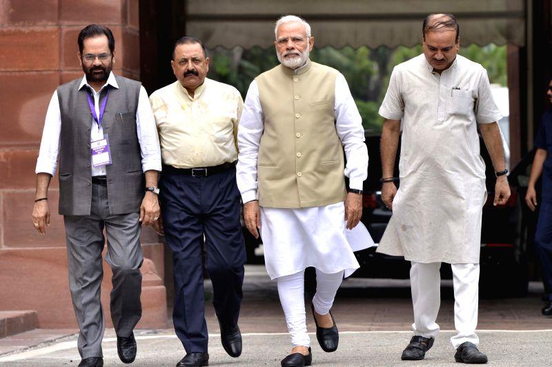 Presidential Polls - Parliament - Narendra Modi, Ministers Ananth Kumar, Mukhtar Abbas Naqvi and Jitendra Singh