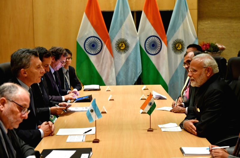 Prime Minister Narendra Modi and Argentina President Mauricio Macri holds Bilateral during the 10th BRICS Summit in Johannesburg, South Africa, on July 27, 2018. - Narendra Modi