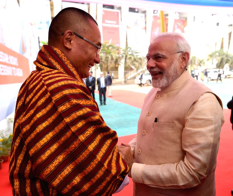 Prime Minister Narendra Modi and Bhutanese Prime Minister Tshering Tobgay at the exhibition Advantage Assam in Guwahati on Feb 3, 2018. - Narendra Modi