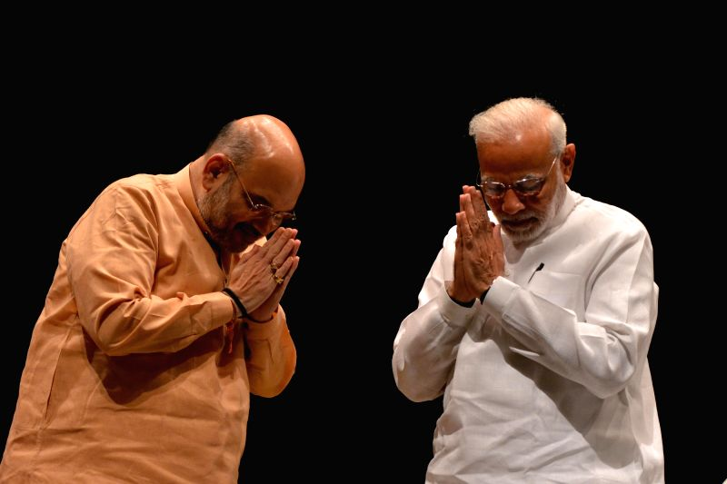 Prime Minister Narendra Modi and BJP chief Amit Shah during BJP Parliamentary Party meeting, in New Delhi on July 31, 2018. - Narendra Modi and Amit Shah
