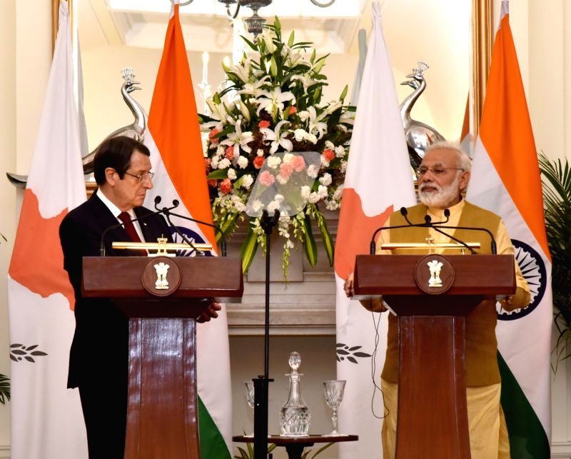 Prime Minister Narendra Modi and Cyprus President Nicos Anastasiades during the Joint Press Statement at Hyderabad House in New Delhi on April 28, 2017. - Narendra Modi