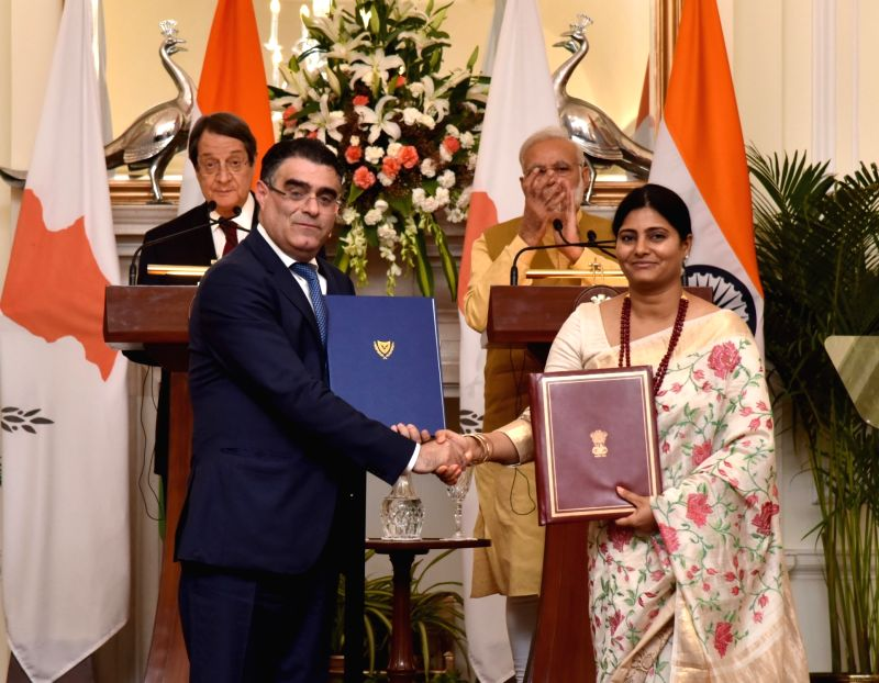 Prime Minister Narendra Modi and Cyprus President Nicos Anastasiades witness the exchange of agreements at Hyderabad House in New Delhi on April 28, 2017. Also seen Minister of State for ... - Narendra Modi and Welfare Anupriya Patel