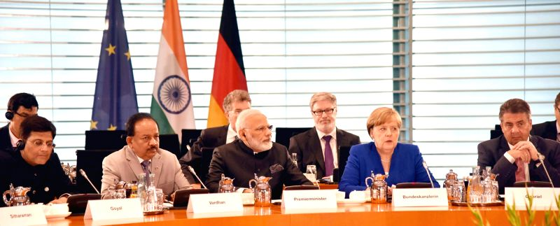 Prime Minister Narendra Modi and German Chancellor Angela Merkel at Plenary Meeting of Inter-Governmental Consultations in Berlin, Germany on May 30, 2017. - Narendra Modi