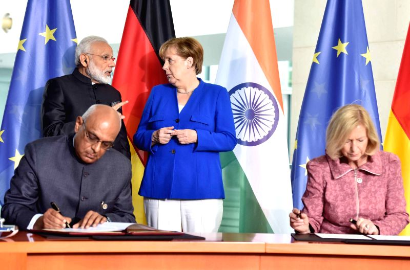 Prime Minister Narendra Modi and German Chancellor, Dr. Angela Merkel witness the signing of MoUs/JDIs between India and Germany, in Berlin, Germany on May 30, 2017. - Narendra Modi