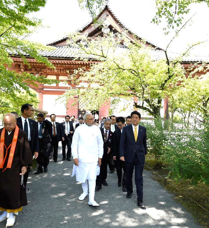 Prime Minister Narendra Modi and his Japanese counterpart Shinzo Abe visit Toji temple, in Kyoto, Japan on August 31, 2014. - Narendra Modi