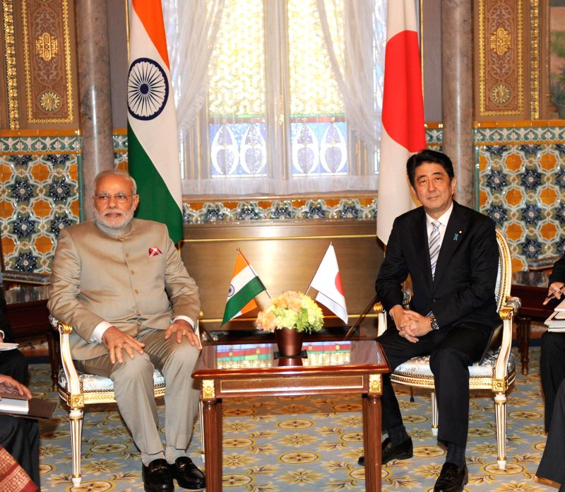 Prime Minister Narendra Modi and his Japanese counterpart Shinzo Abe at a Restricted Meeting in Akasaka Palace of Tokyo, Japan on September 01, 2014. - Narendra Modi