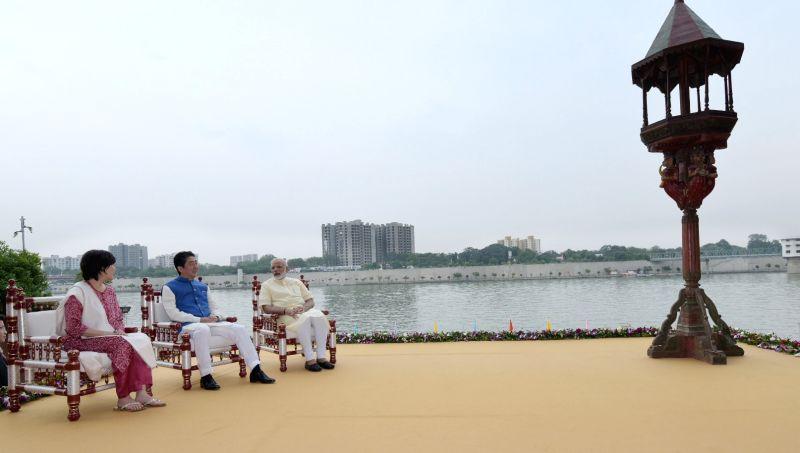 Prime Minister Narendra Modi and Japanese Prime Minister Shinzo Abe at Sabarmati Ashram in Ahmedabad on Sept 13, 2017. - Narendra Modi